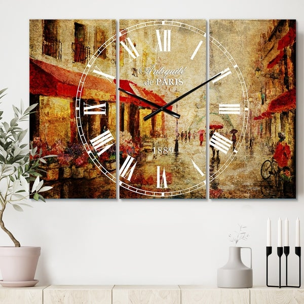 Designart 'Lovers in Paris Eiffel Tower' Cottage 3 Panels Oversized Wall CLock - 36 in. wide x 28 in. high - 3 panels