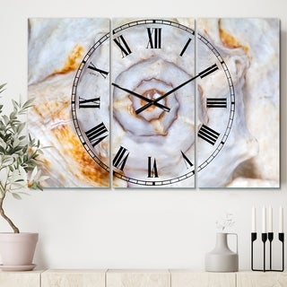 Designart 'Great Skeleton of Sea Shell' Cottage 3 Panels Large Wall CLock - 36 in. wide x 28 in. high - 3 panels