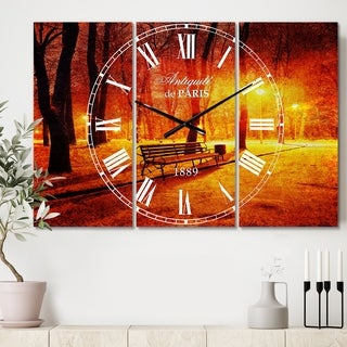 Designart 'Benches Covered in Winter Snow' Cottage 3 Panels Oversized Wall CLock - 36 in. wide x 28 in. high - 3 panels