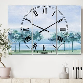 Designart 'Across the Lake VI' Cottage 3 Panels Large Wall CLock - 36 in. wide x 28 in. high - 3 panels