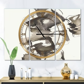 Designart 'Geometric Glam Square II' Glam 3 Panels Oversized Wall CLock - 36 in. wide x 28 in. high - 3 panels