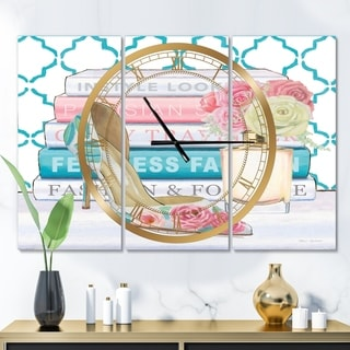 Designart 'Pink Fashion high heels II' Glam 3 Panels Large Wall CLock - 36 in. wide x 28 in. high - 3 panels
