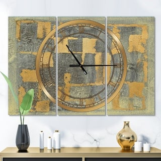 Designart 'Glam Metallic Form II' Glam 3 Panels Oversized Wall CLock - 36 in. wide x 28 in. high - 3 panels