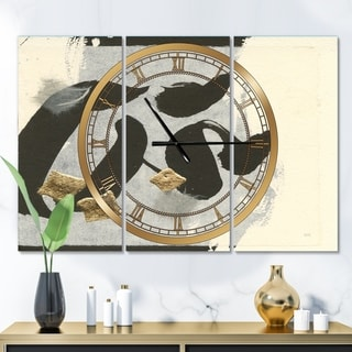 Designart 'Glam Collage I' Glam 3 Panels Oversized Wall CLock - 36 in. wide x 28 in. high - 3 panels