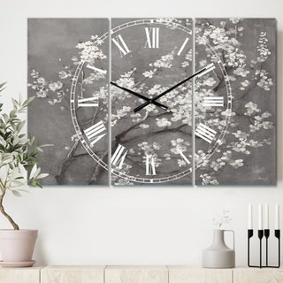Designart 'White Cherry Blossoms I' Cottage 3 Panels Large Wall CLock - 36 in. wide x 28 in. high - 3 panels