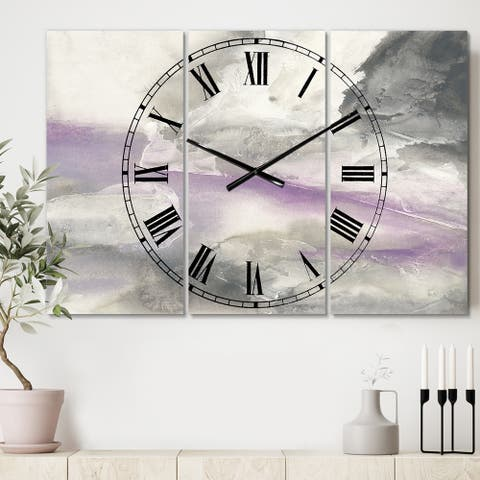 Designart 'Watercolor Minimal Purple Tones I' Cottage 3 Panels Oversized Wall CLock - 36 in. wide x 28 in. high - 3 panels