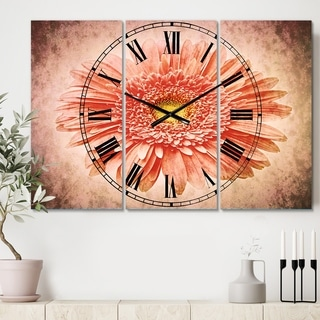 Designart 'Single Daisy on White Background' Cottage 3 Panels Large Wall CLock - 36 in. wide x 28 in. high - 3 panels