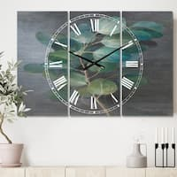 Designart 'Fresh leaves I' Cottage 3 Panels Oversized Metal Clock - 36 in. wide x 28 in. high - 3 panels
