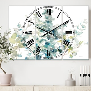 Designart 'Eucalyptus Natural Element' Cottage 3 Panels Oversized Wall CLock - 36 in. wide x 28 in. high - 3 panels