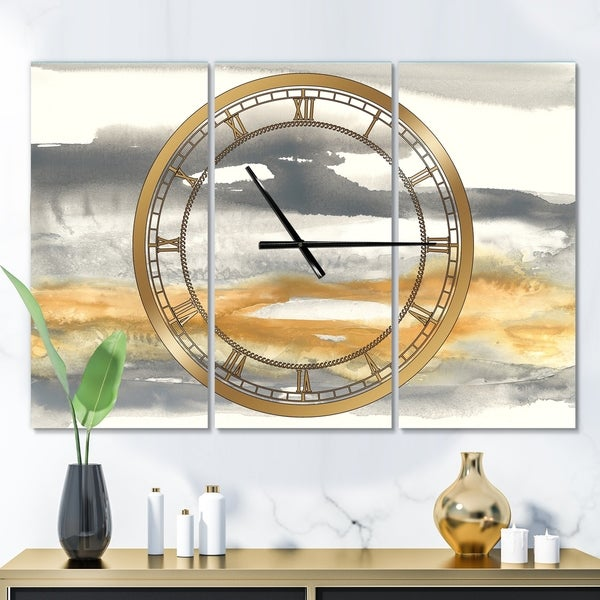 Designart 'Gold Glamour Direction I' Glam 3 Panels Oversized Wall CLock - 36 in. wide x 28 in. high - 3 panels