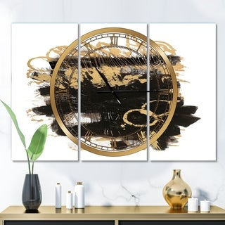 Designart 'Gold and Black drift II' Glam 3 Panels Oversized Wall CLock - 36 in. wide x 28 in. high - 3 panels