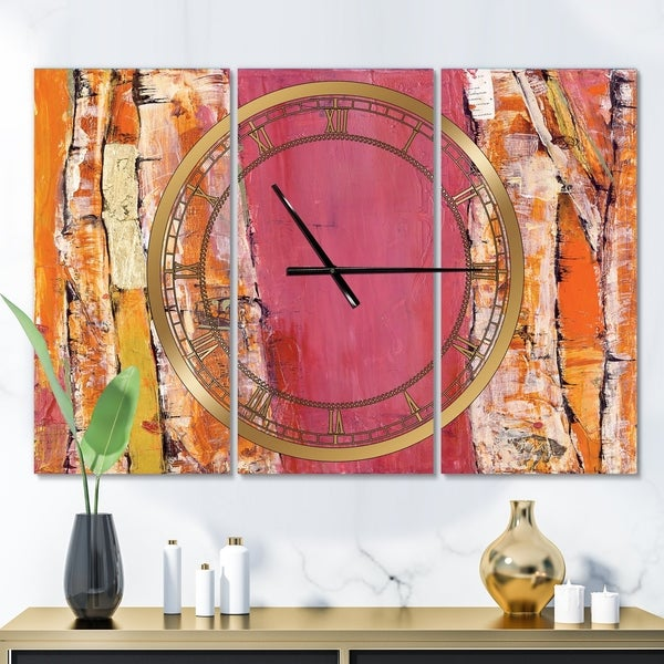 Designart 'Glamorous Composition of Red and Gold' Glam 3 Panels Large Wall CLock - 36 in. wide x 28 in. high - 3 panels
