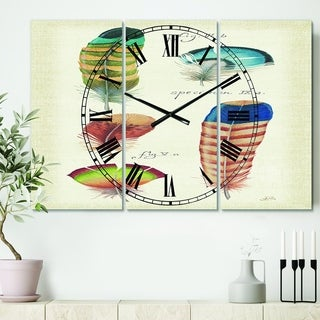 Designart 'Feathers Cottage Family II' Cottage 3 Panels Oversized Wall CLock - 36 in. wide x 28 in. high - 3 panels