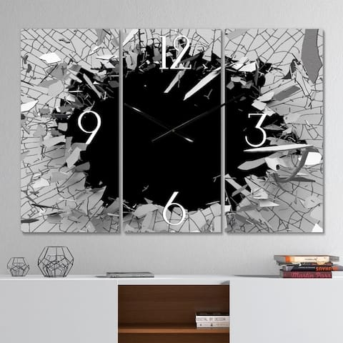 Strick & Bolton 'Abstract Broken Wall 3D Design' 3-panel Metal Clock - 36 in. wide x 28 in. high - 3 panels