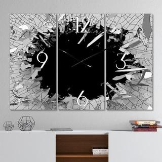 Strick & Bolton 'Abstract Broken Wall 3D Design' 3-panel Metal Clock