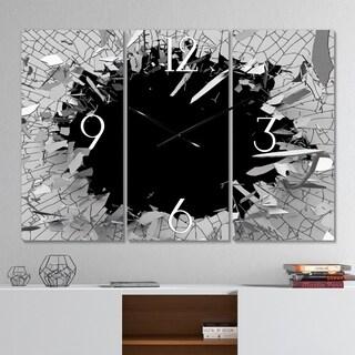 Designart 'Abstract Broken Wall 3D Design' Modern & Contemporary 3 Panels Oversized Metal Clock