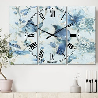 Designart 'Indigold Watercolor Flower III' Cottage 3 Panels Oversized Wall CLock - 36 in. wide x 28 in. high - 3 panels