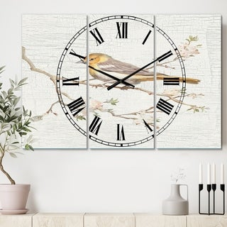 Designart 'Birds on Blossom II' Cottage 3 Panels Oversized Wall CLock - 36 in. wide x 28 in. high - 3 panels