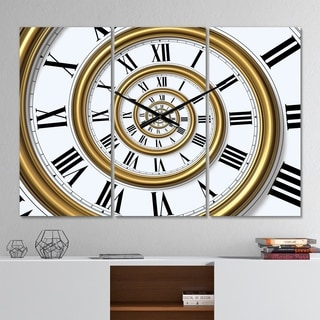 Designart 'Time Spiral in Antique Style' Modern 3 Panels Oversized Wall CLock - 36 in. wide x 28 in. high - 3 panels