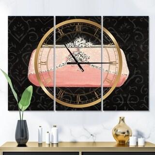 Designart 'Glam & Fashion Parfum Boudoir II' Glam 3 Panels Oversized Wall CLock - 36 in. wide x 28 in. high - 3 panels