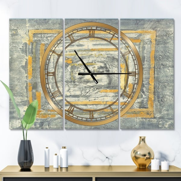 Designart 'Gold Glam on Grey Tapestry II' Glam 3 Panels Large Wall CLock - 36 in. wide x 28 in. high - 3 panels
