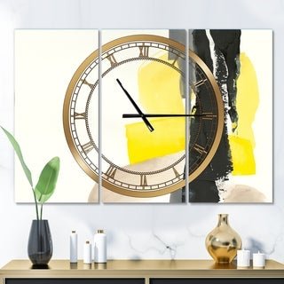 Designart 'Glam Black and Yellow III' Glam 3 Panels Oversized Wall CLock - 36 in. wide x 28 in. high - 3 panels