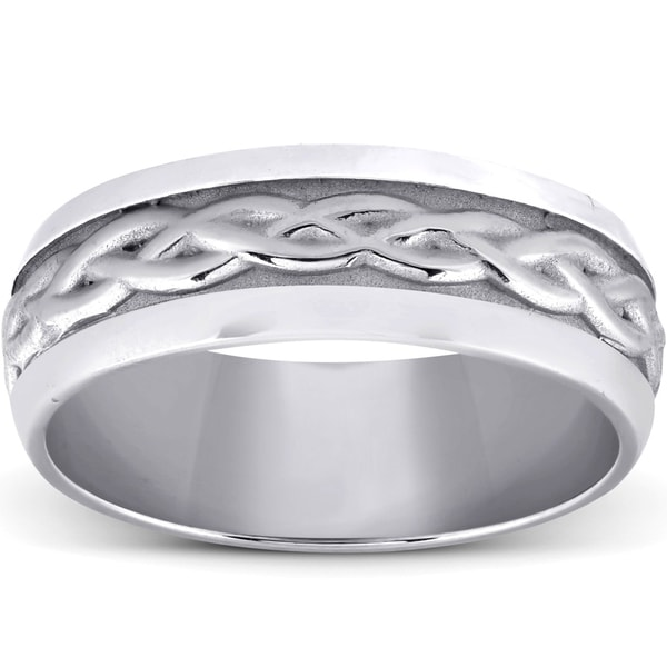 White Gold Mens Wedding Bands.Pompeii3 14k White Gold 7mm Brushed Braided Comfort Fit Ring Mens Wedding Band