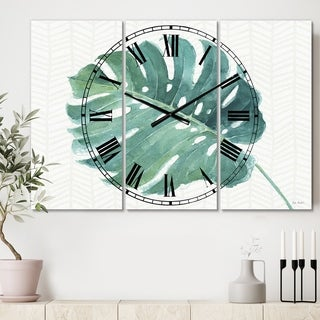 Designart 'Mixed Botanical Green Leaves IV' Cottage 3 Panels Large Wall CLock - 36 in. wide x 28 in. high - 3 panels