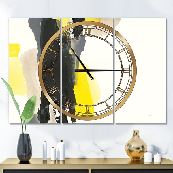 Designart 'Glam Black and Yellow II' Glam 3 Panels Large Wall CLock - 36 in. wide x 28 in. high - 3 panels