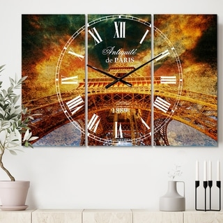 Designart 'Paris Paris Eiffel Towerin Paris with Sunset Colors' Cottage 3 Panels Large Wall CLock