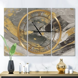 Designart 'Marble Gold and Black II' Glam 3 Panels Oversized Wall CLock - 36 in. wide x 28 in. high - 3 panels