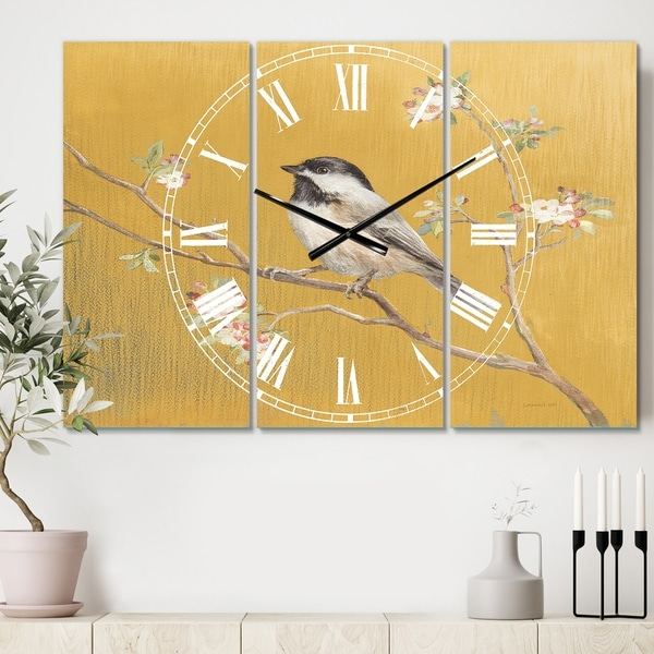 Designart 'Gold Bird on Blossoms IV' Cottage 3 Panels Oversized Wall CLock - 36 in. wide x 28 in. high - 3 panels