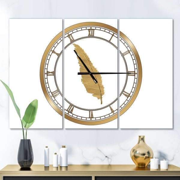 Designart 'Glam pure Gold Feather I' Glam 3 Panels Large Wall CLock - 36 in. wide x 28 in. high - 3 panels