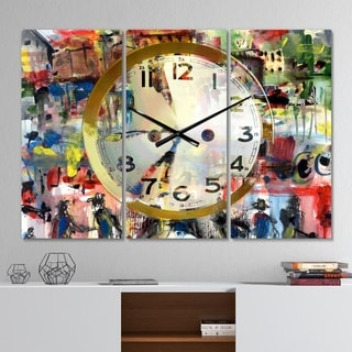Designart 'People and Time Acrylic Watercolor' Modern 3 Panels Oversized Wall CLock - 36 in. wide x 28 in. high - 3 panels