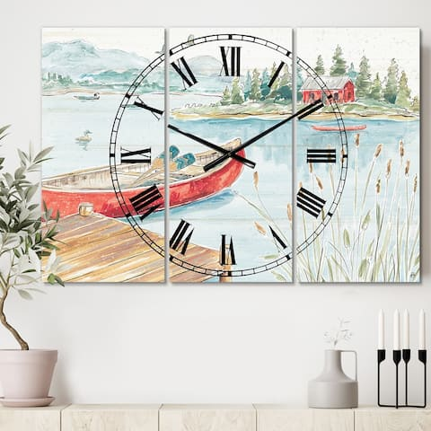 Designart 'Lake House Canoes I' Cottage 3 Panels Large Wall CLock - 36 in. wide x 28 in. high - 3 panels
