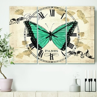 Designart 'Blue Farmhouse Butterfly' Cottage 3 Panels Oversized Wall CLock - 36 in. wide x 28 in. high - 3 panels