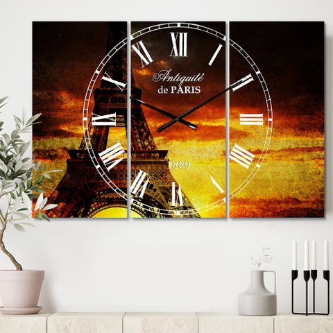 Designart 'Sunset View with Paris Eiffel tower' Cottage 3 Panels Oversized Wall CLock - 36 in. wide x 28 in. high - 3 panels