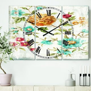 Designart 'Golden Flowers' Cottage 3 Panels Oversized Wall CLock - 36 in. wide x 28 in. high - 3 panels