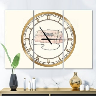 Designart 'Glamorous Sparkle Purse II' Glam 3 Panels Large Wall CLock - 36 in. wide x 28 in. high - 3 panels