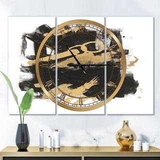 Designart 'Gold and Black drift I' Glam 3 Panels Large Wall CLock - 36 in. wide x 28 in. high - 3 panels