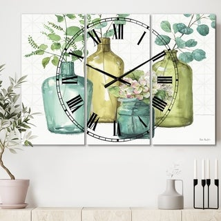 Designart 'Mixed Botanical Green Leaves VIII' Cottage 3 Panels Large Wall CLock - 36 in. wide x 28 in. high - 3 panels