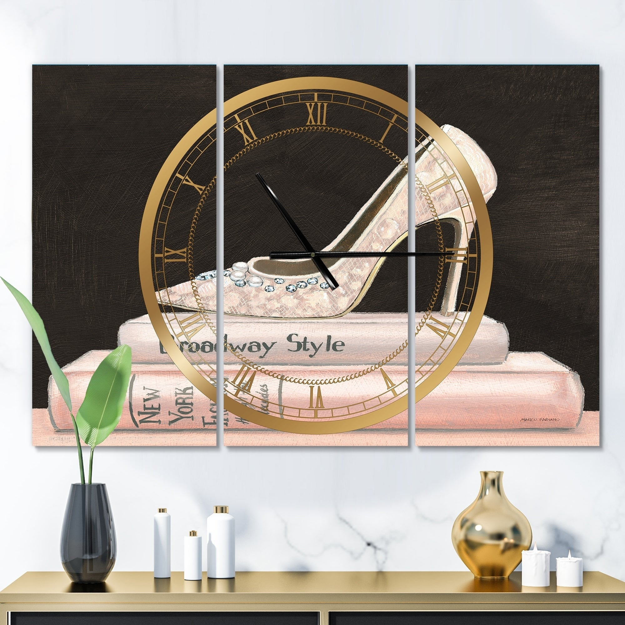 Designart Pink Fashion Glam High Heels Ii Glam 3 Panels Oversized Wall Clock 36 In Wide X 28 In High 3 Panels On Sale Overstock 26291722