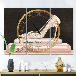 Designart 'Pink Fashion & Glam high heels II' Glam 3 Panels Oversized Wall CLock - 36 in. wide x 28 in. high - 3 panels