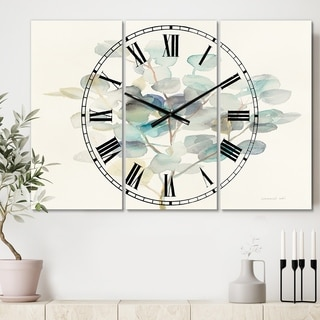 Designart 'Eucalyptus leaves I' Cottage 3 Panels Oversized Wall CLock - 36 in. wide x 28 in. high - 3 panels