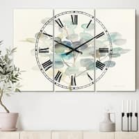 Designart 'Eucalyptus leaves I' Cottage 3 Panels Oversized Metal Clock - 36 in. wide x 28 in. high - 3 panels
