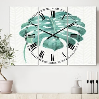 Designart 'Mixed Botanical Green Leaves VI' Cottage 3 Panels Oversized Wall CLock - 36 in. wide x 28 in. high - 3 panels
