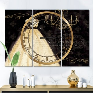 Designart 'French chandeliers Couture III' Glam 3 Panels Oversized Wall CLock - 36 in. wide x 28 in. high - 3 panels