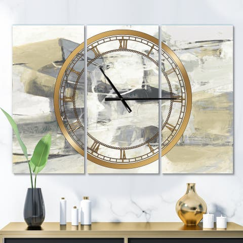 Silver Orchid Fonteney Glam 3-Panel Metal Clock - 36 in. wide x 28 in. high - 3 panels