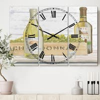 Designart 'White Chardonnay Wine Bottles' Cottage 3 Panels Oversized Wall CLock - 36 in. wide x 28 in. high - 3 panels