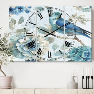 Designart 'Indigold Watercolor Lovely bird II' Cottage 3 Panels Oversized Wall CLock - 36 in. wide x 28 in. high - 3 panels